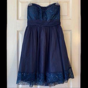 Delia's navy blue sequin strapless dress EUC